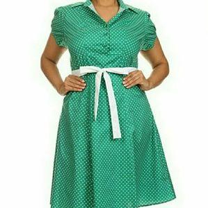 Modcloth Green Polkadot Soda Fountain Dress